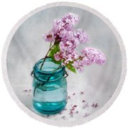 Lilacs In A Glass Jar Still Life Round Beach Towel