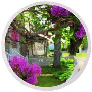 Lilacs In Bloom Round Beach Towel by Desiree Paquette