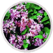 Round Beach Towel featuring the painting Lilacs In May by Sandy MacGowan