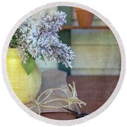 Lilacs In Yellow Vase Round Beach Towel