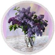 Lilacs Round Beach Towel