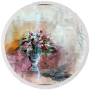 Lilies And A Blanket Painting Round Beach Towel