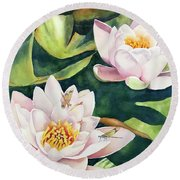 Lilies And Dragonflies Round Beach Towel