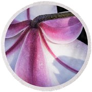 Lilies Backside Round Beach Towel by Jean Noren