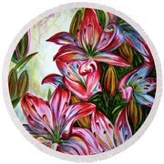 Round Beach Towel featuring the painting Lilies by Harsh Malik