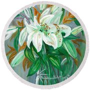 Lilies In A Glass Vase - Painting Round Beach Towel by Veronica Rickard