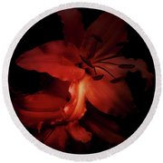 Lilies In The Shadows Round Beach Towel