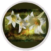 Lilies With Light Round Beach Towel