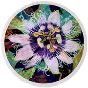 Round Beach Towel featuring the painting Lilikoi by Marionette Taboniar