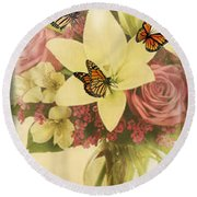 Lililies And Roses Round Beach Towel by Maria Urso