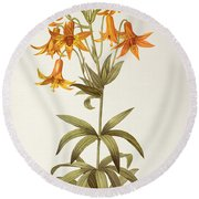 Lilium Penduliflorum Round Beach Towel