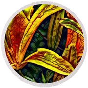 Lilly Fire Round Beach Towel