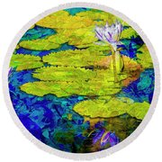Round Beach Towel featuring the photograph Lilly by Paul Wear