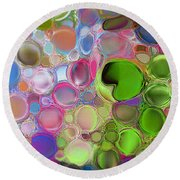 Round Beach Towel featuring the digital art Lilly Pond by Loxi Sibley