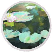 Lillypad Reflections Round Beach Towel