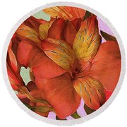 Lily Bouquet In North Light Round Beach Towel