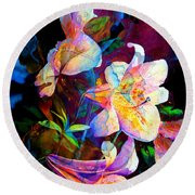 Round Beach Towel featuring the painting Lily Fiesta Garden by Hanne Lore Koehler