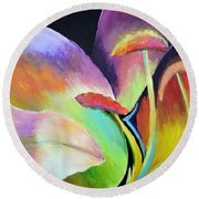 Round Beach Towel featuring the painting Lily Too by Jodie Marie Anne Richardson Traugott          aka jm-ART