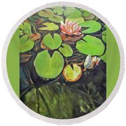 Lily In The Water Round Beach Towel