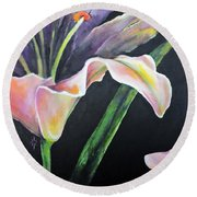 Round Beach Towel featuring the painting Lily by Jodie Marie Anne Richardson Traugott          aka jm-ART