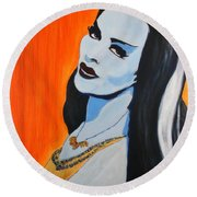 Round Beach Towel featuring the painting Lily Munster - Yvonne De Carlo by Bob Baker