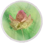 Round Beach Towel featuring the mixed media Lily My Lovely - S112sqc88 by Variance Collections