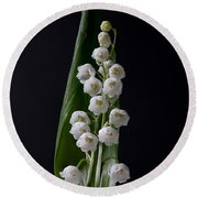 Lily Of The Valley On Black Round Beach Towel