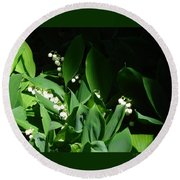 Lily Of The Valley Round Beach Towel by Patricia Overmoyer