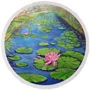 Water Lily Canal Round Beach Towel by Ecinja Art Works