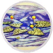Lily Pad Pond Round Beach Towel