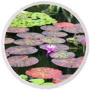 Lily Pads And Parasols Round Beach Towel