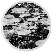 Lily Pads, Black And White Round Beach Towel