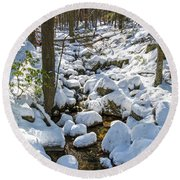 Lily Pads Of Snow Round Beach Towel