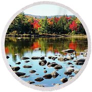 Round Beach Towel featuring the photograph Lily Pond - Kancamagus Highway - New Hampshire by Joseph Hendrix