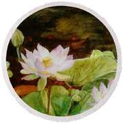 The Lily Pond - Painting  Round Beach Towel