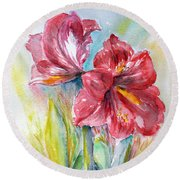 Lily Red Round Beach Towel by Jasna Dragun