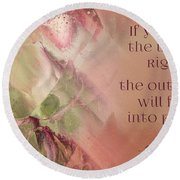 Round Beach Towel featuring the digital art Lily Text - Et01b by Variance Collections