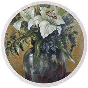 Lily-oil On Canvas Painting Round Beach Towel