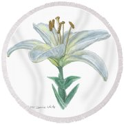 Lily Watercolor Round Beach Towel