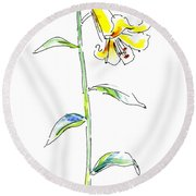 Lily Watercolor Painting 2 Round Beach Towel