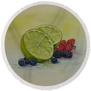 Round Beach Towel featuring the painting Lime And Berries by Kelly Mills