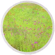 Round Beach Towel featuring the digital art Lime And Hot Pink Field by Ellen Barron O'Reilly
