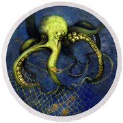 Lime Green Octopus With Net Round Beach Towel