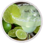 Round Beach Towel featuring the photograph Lime Margarita Drink by Teri Virbickis