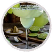Round Beach Towel featuring the photograph Lime Margaritas by Teri Virbickis