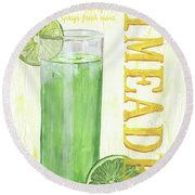 Round Beach Towel featuring the painting Limeade by Debbie DeWitt