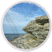 Round Beach Towel featuring the photograph Limestone Cliffs by Kennerth and Birgitta Kullman