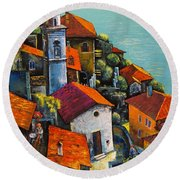 Round Beach Towel featuring the painting Limone Del Garda by Mikhail Zarovny