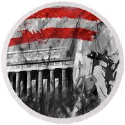 Round Beach Towel featuring the painting Lincoln Abe by Gull G