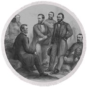 Lincoln And His Generals Round Beach Towel